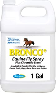 Farnam Bronco e Equine Fly Spray, with Citronella Scent, for horses, ponies and dogs, 1 Gallon