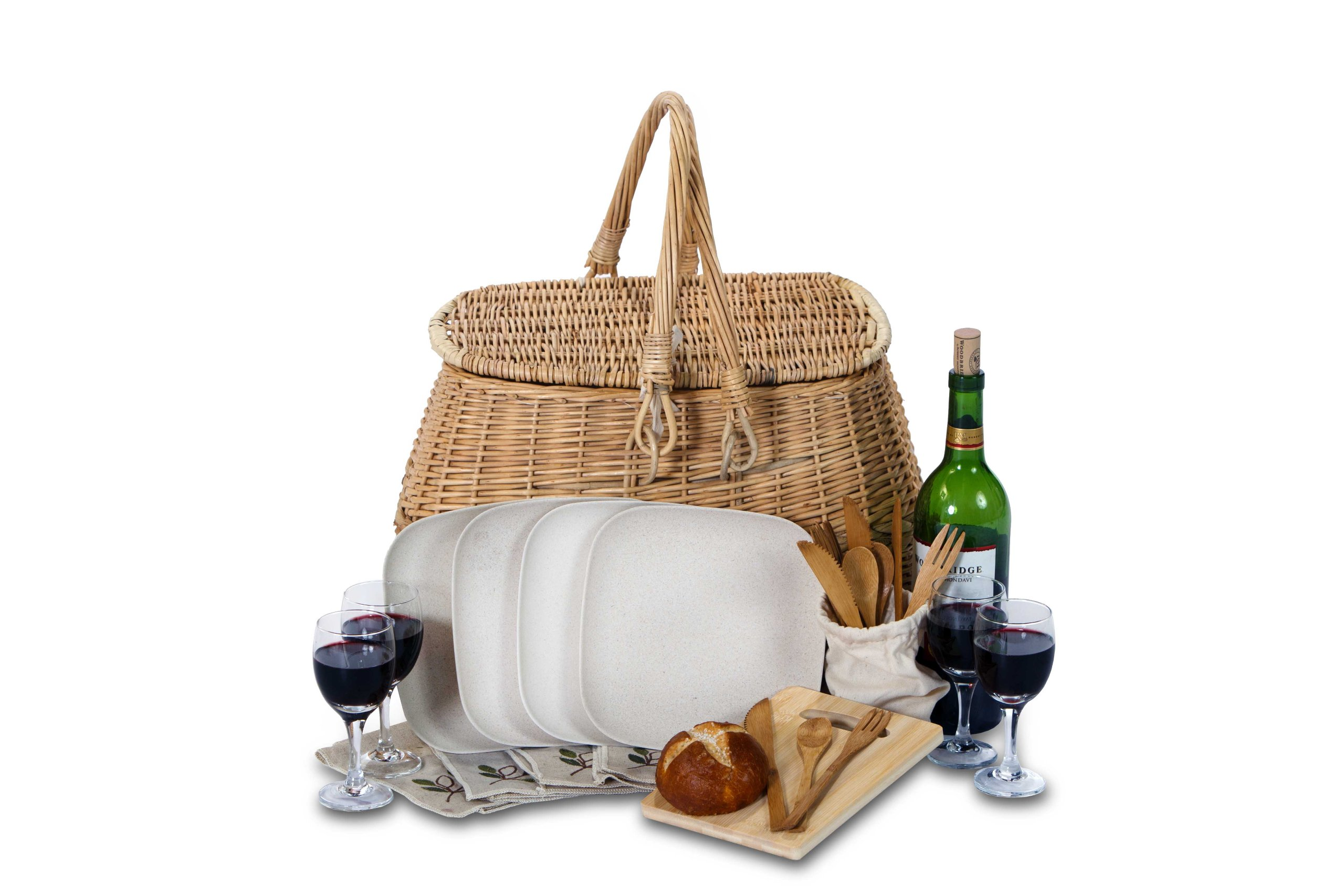Picnic Plus Eco Friendly 4 Person Picnic Basket Value Sets With Bamboo Fiber Plates Bamboo Utensils