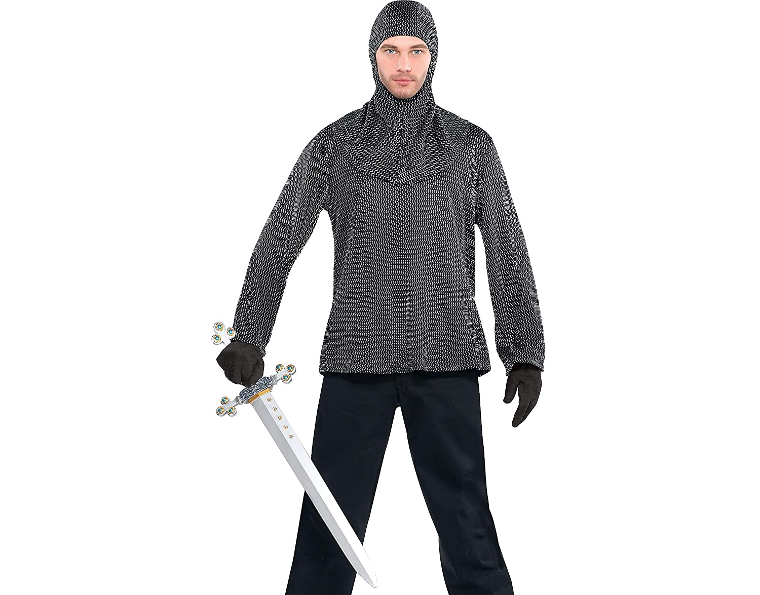 59da803453466 Mens Medieval Knight Chain Mail look Tunic with Coif Hood Fancy Dress  Accessory  Amazon.co.uk  Toys   Games