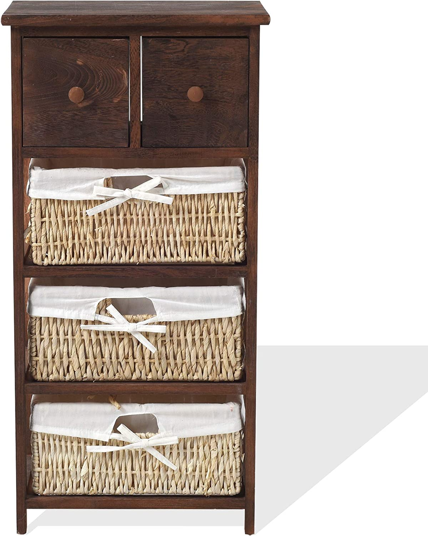 Rebecca Mobili Armario rústico, Mueble baño con 2 cajones, 3 cestas, Madera Mimbre, marrón, Estilo Country, Entrada baño- Medidas: 80 x 40 x 27 cm (AxANxF) - Art. RE4059