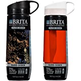 Brita Hard Sided Water Bottle with Filter, BPA Free (1 Black & 1 Red)