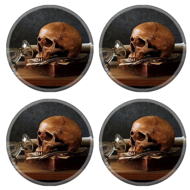 MSDラウンドコースターノンスリップ天然ゴムデスクコースターデザイン33649419 Still Lifeアート写真on human skull skeleton with Book   B07B9S5J96