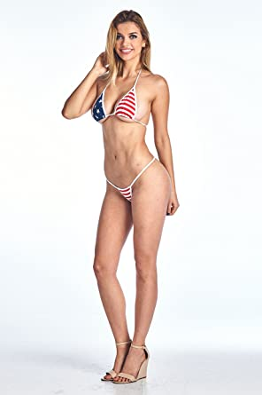 97bad4e556831 Women's Juniors Bikini USA Flag Micro Thong Top Only Swimwear TOP ...