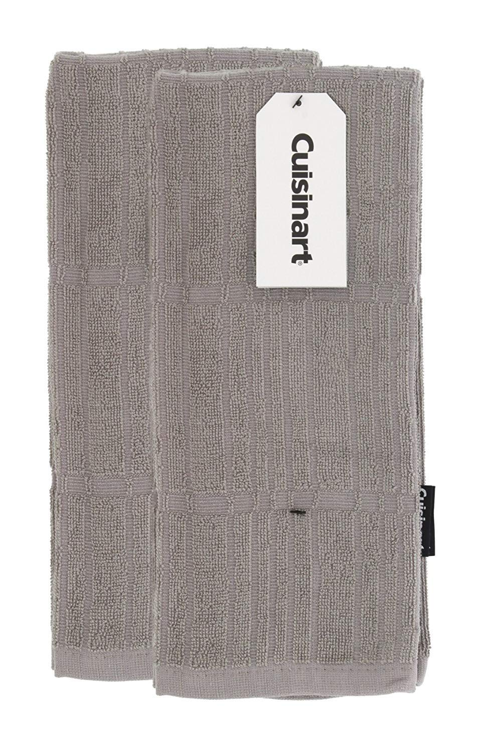 "Cuisinart Bamboo Dish Towel Set-Kitchen and Hand Towels for Drying Dishes / Hands - Absorbent, Soft and Anti-Microbial-Premium Bamboo / Cotton Blend, 2 Pack, 16 x 26"", Drizzle Grey, Bark-Effect Design"