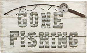 youngs Inc Wood Box Tin Gone Fishing Sign, Multi