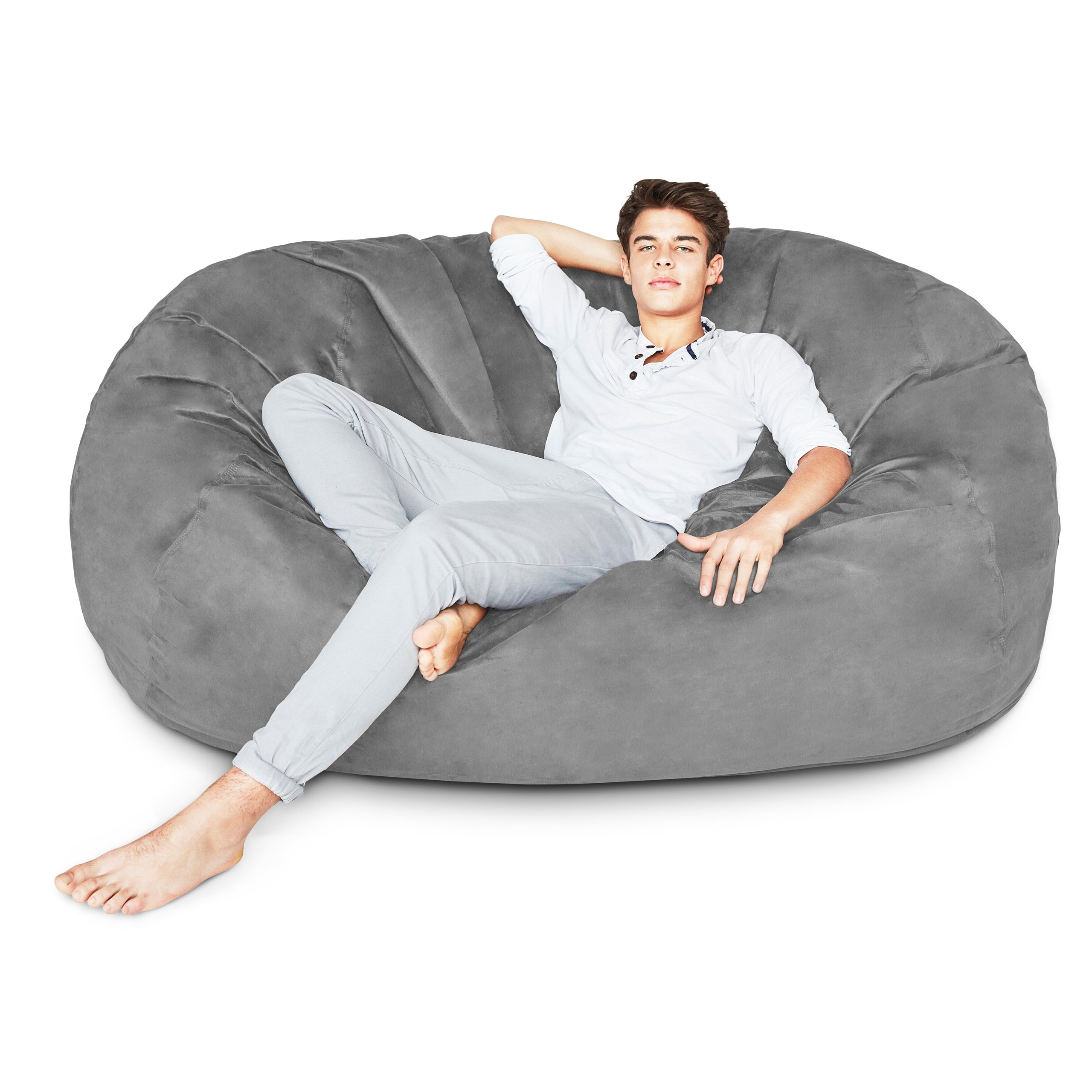 Lumaland Luxury 6-Foot Bean Bag Chair with Microsuede Cover Dark Grey, Machine Washable Big Size Sofa and Giant Lounger Furniture for Kids, Teens and Adults by Lumaland