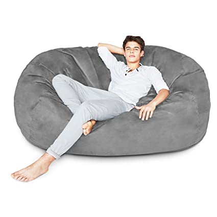 Lumaland Luxury 6 Foot Bean Bag Chair With Microsuede Cover Dark Grey,  Machine Washable