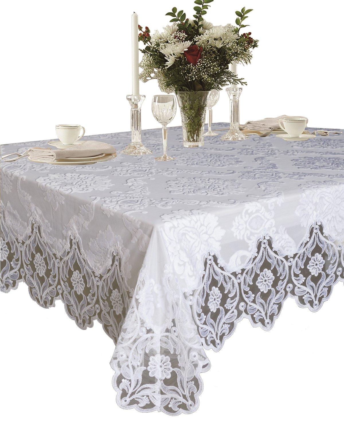 Violet Linen Elegant Velvet Lace Sheer Floral Deluxe Design Tablecloths, 70'' x 144'', White
