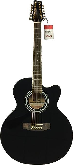 Stagg acústica eléctrica de 12 cuerdas guitarra Jumbo Tamaño ...