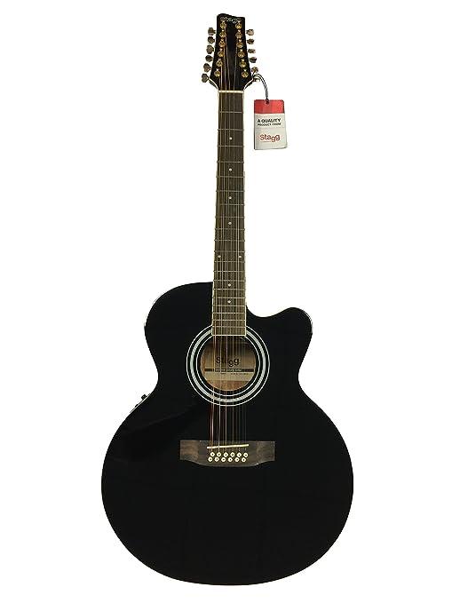 Stagg acústica eléctrica de 12 cuerdas guitarra Jumbo Tamaño Fishman ...