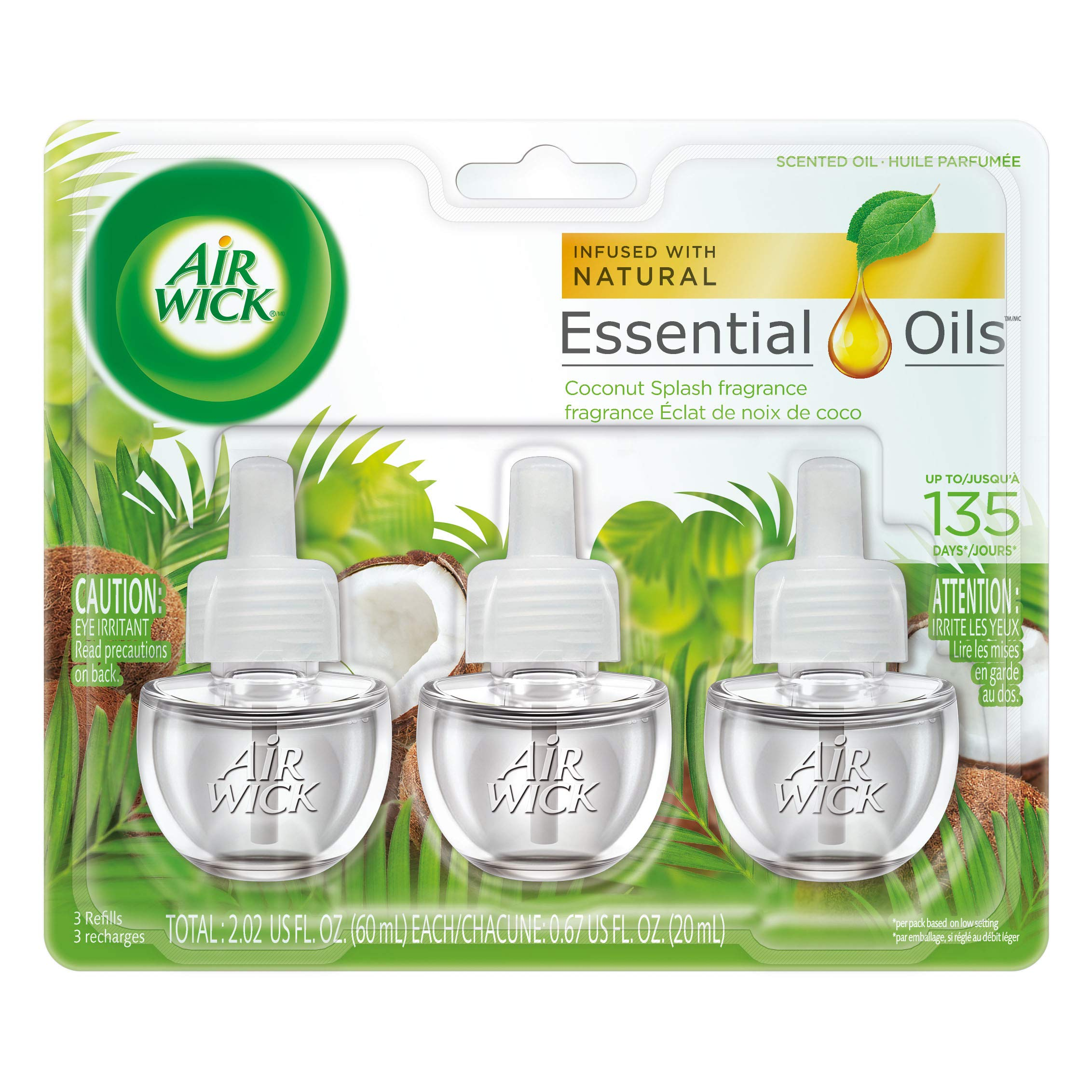 Air Wick Scented Oil Coconut Splash Fragrance, Triple Refills, 0.67oz (Pack of 2)