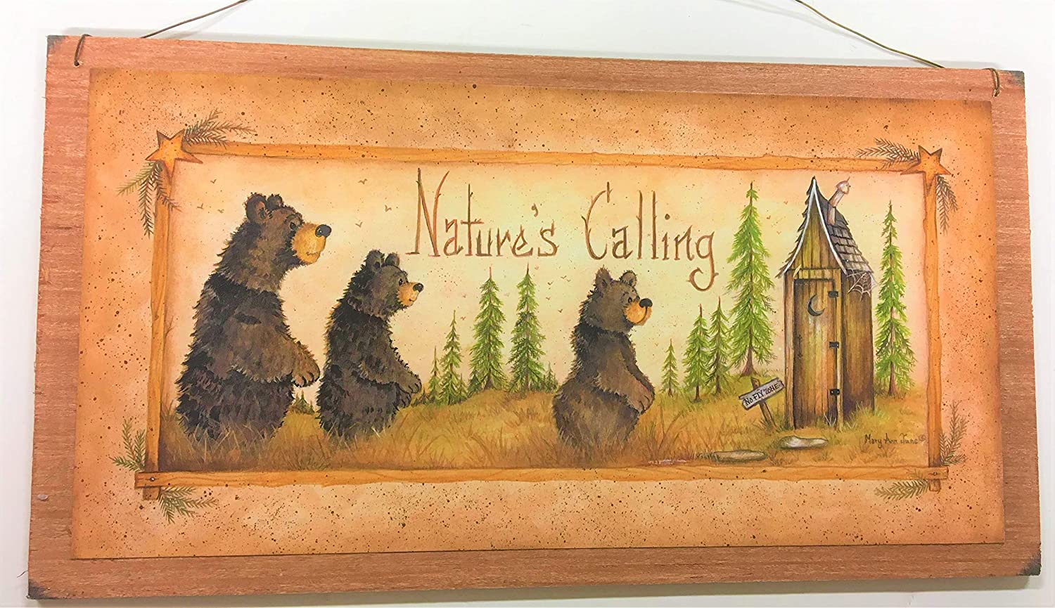 Amazon.com: Natures Calling Country Bathroom Sign Outhouse Lodge ...