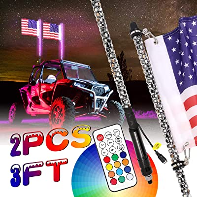 LED Whip Lights, Auto Power Plus 2PCS 3FT LED Whips w/Flag Dancing/Chasing Light Remote Control 360° Spiral LED Antenna Light Whip For Off- Road Vehicle ATV UTV RZR Jeep Trucks Dunes: Automotive