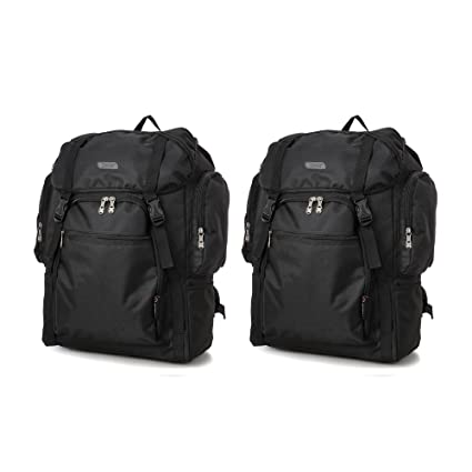 Ryanair 55x40x20cm Lightweight Backpack Rucksack Hand Luggage Cabin Bag by  5 Cities, Pack the maximum on your Ryanair Flight! (2 x Black)   Amazon.co.uk  ... 247aa0614f
