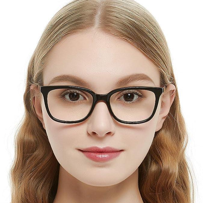 d640f66b260 Amazon.com  OCCI CHIARI Rectangular Stylish Acetate Frame Non-Prescription  Fashion Clear Lens EyeGlasses For Women (Black Red)  Clothing