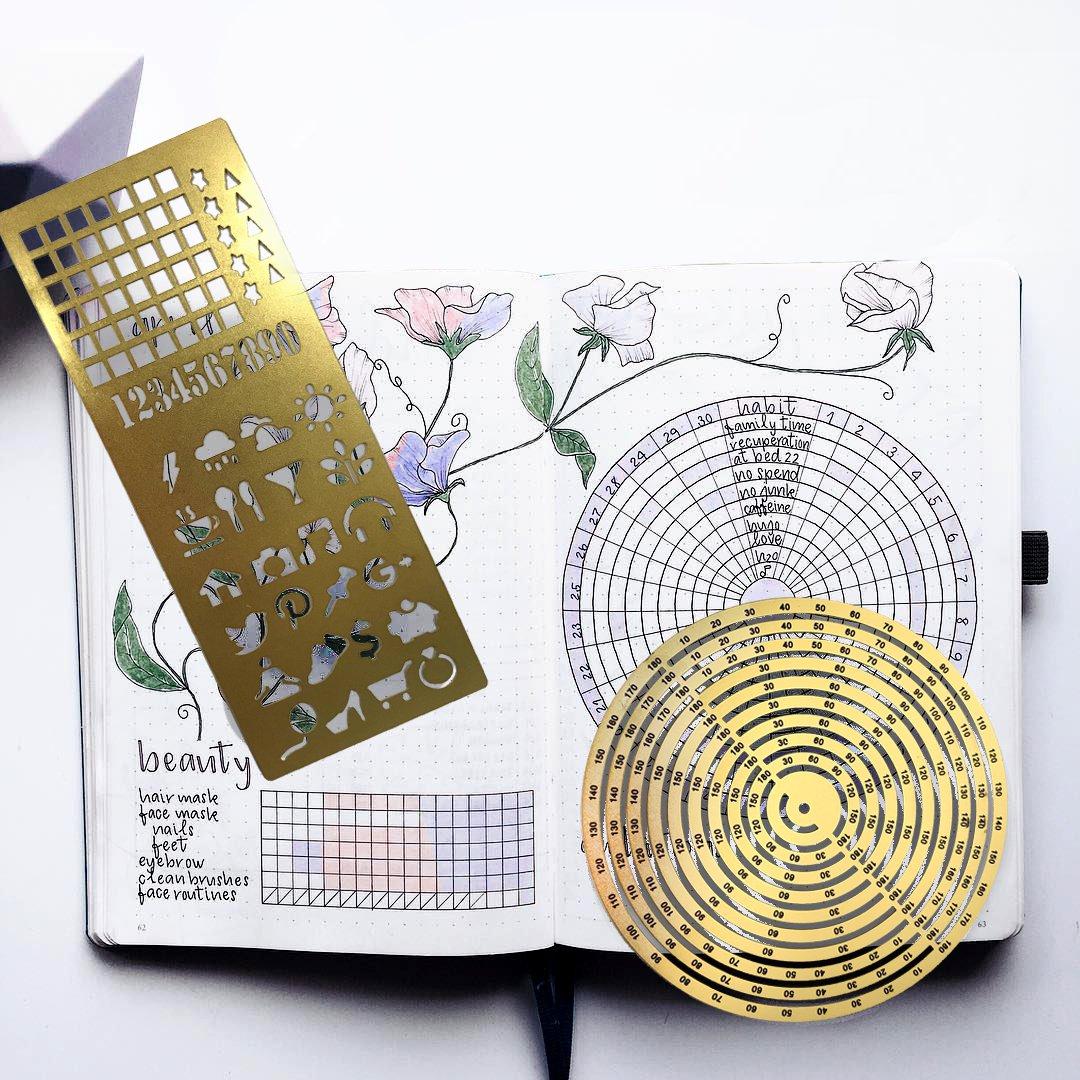 Premium Steel Metal Ruler Circle Stencil DIY Painting Letter Numbers Engraving Tool Template for Bullet Journal Adult Kids Calendar Notebook Planner Agenda Scrapbook Album Craft Supplies (Gold) by DHUNI (Image #3)
