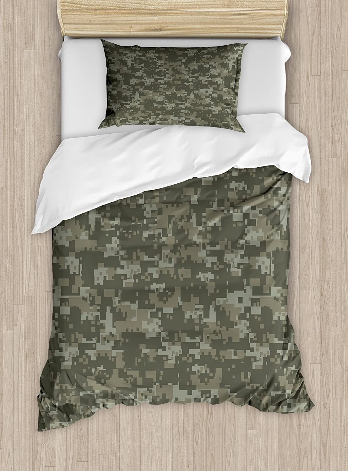 Ambesonne Camouflage Duvet Cover Set, Monochrome Attire Pattern Concealing Hiding in The Woods Themed Print, Decorative 2 Piece Bedding Set with 1 Pillow Sham, Twin Size, Army Green