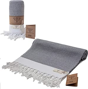 Smyrna Original Turkish Beach Towel Cotton, Prewashed, 37 x 71 Inches | Peshtemal and Turkish Bath Towel for SPA, Beach, Pool, Gym and Bathroom (Dark Grey)