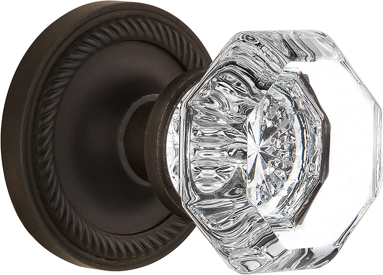 Bright Chrome 2.25 Nostalgic Warehouse Rope Rosette with Waldorf Crystal Knob Mortise