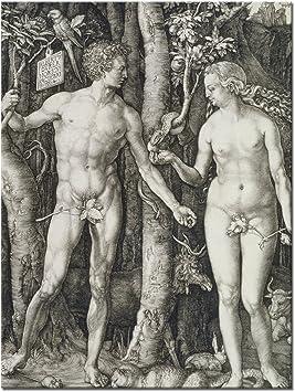 """Lienzo Wandkings """"Adán y Eva"""" de Alberto durero/30 x 40 cm/en bastidor: Amazon.es: Hogar"""
