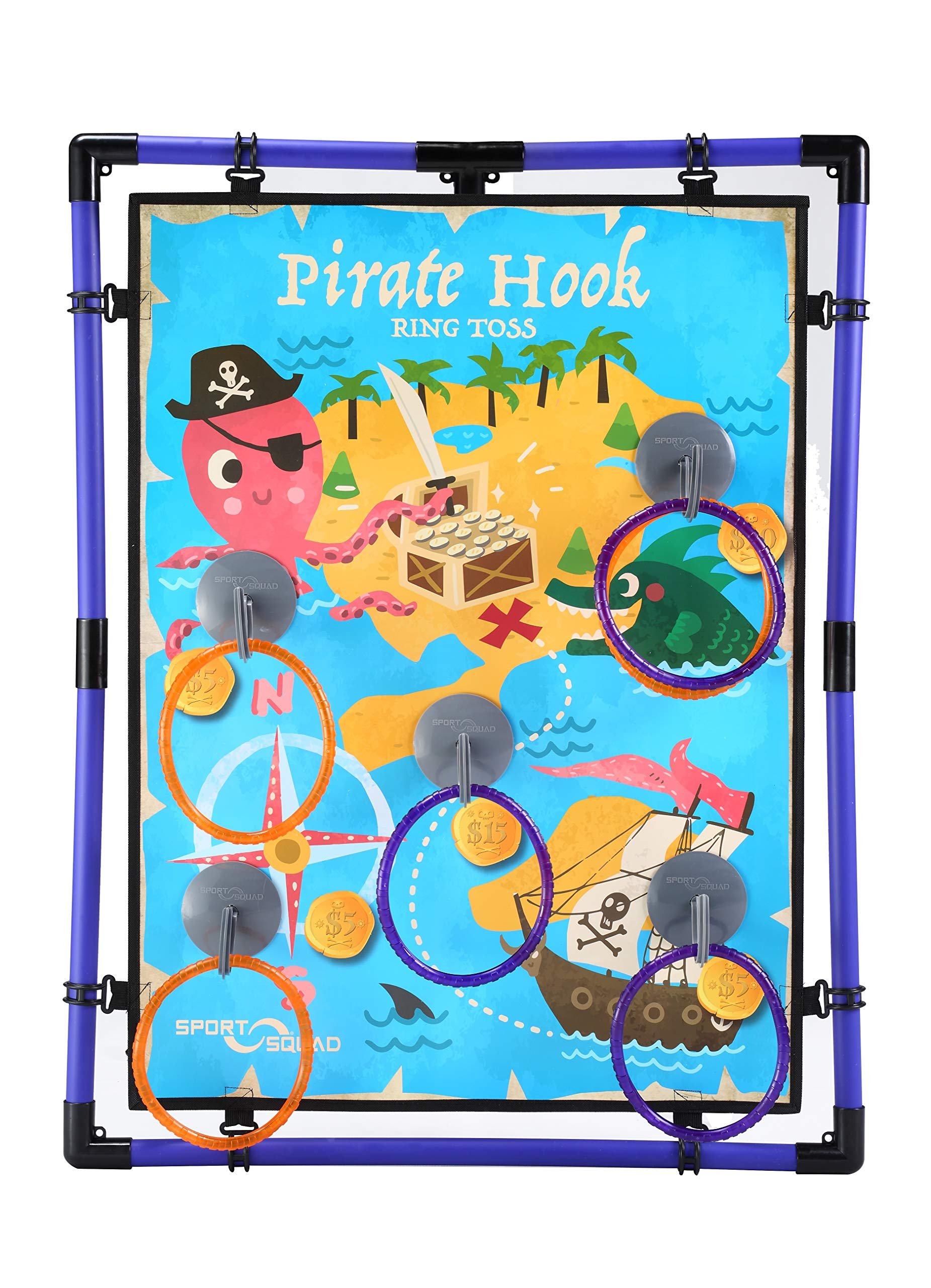 Sport Squad Pirate Hook Ring Toss - Indoor & Outdoor Ring Toss Games for Kids and Adults - Portable Pirates Ring Toss Game - Great for Pirate Themed Birthday Parties - Incl. 3 Purple & 3 Orange Rings
