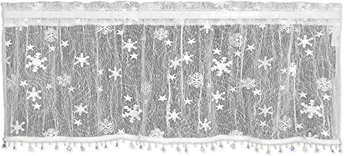 Heritage Lace Wind Chill Valance with Trim, 45 by 15-Inch, White