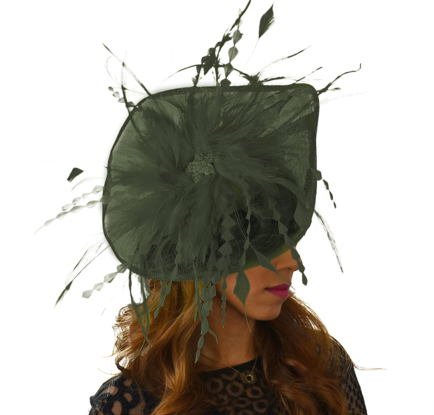 Hats By Cressida Pretty Petia Army Green Feathers Ascot Derby Fascinator Hat  - With Headband at Amazon Women s Clothing store  3c7daee0855c
