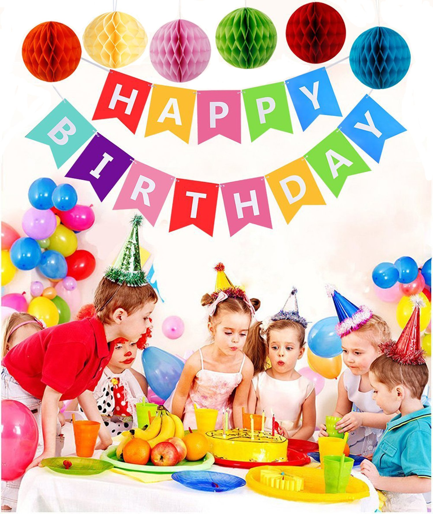 "Kit Decorazione Festa di Compleanno, Striscione ""Happy Birthday"" con 6 Sfere a Nido d\'ape e una Decorazione di Carta Arcobaleno, Party kit"