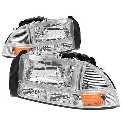 Replacement for Dodge Dakota/Durango 4pcs Chrome Housing Amber Corner Headlight+Bumper Lights Kit Replacement: Automotive