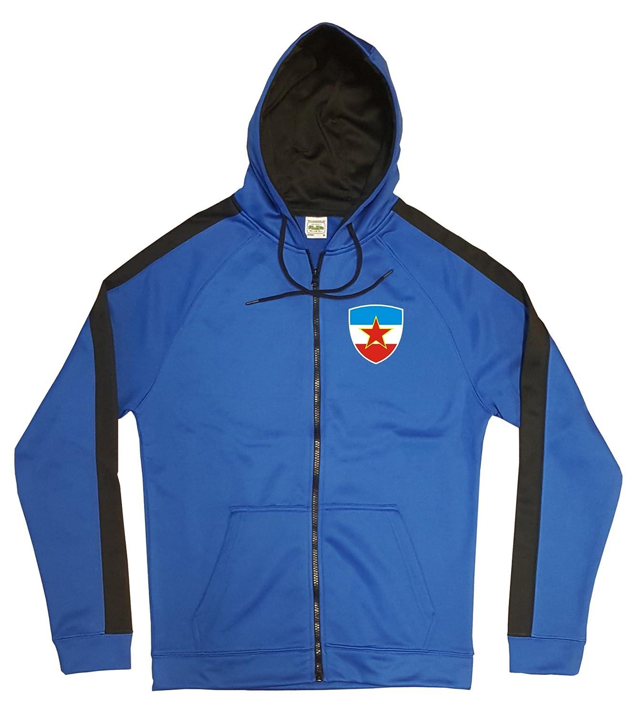 Jugoslawien Jacke Sweater Royal GO Jugoslavija Trikot Look Zip Nation Fussball Sport