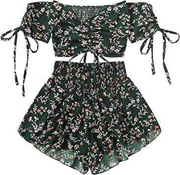 7784486404 SheIn Women's Boho Floral Two Piece Outfit Off Shoulder Drawstring Crop Top  and Shorts Set