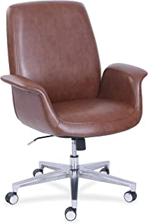 "product image for La-Z-Boy ComfortCore Gel Seat Collaboration Chair - Faux Leather Brown Seat - Faux Leather Brown Back - 20.3"" Width x 29"" Depth x 48"" Height"
