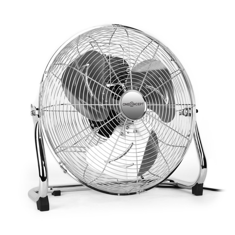 OneConcept Metal Blizzard XXL • Ventilator • Bodenventilator • Standventilator • leise • Chrom • 46 cm (18') Rotorblätter • Metallkorb • 120 Watt • 3 Geschwindigkeiten • Tragegriff • Silber
