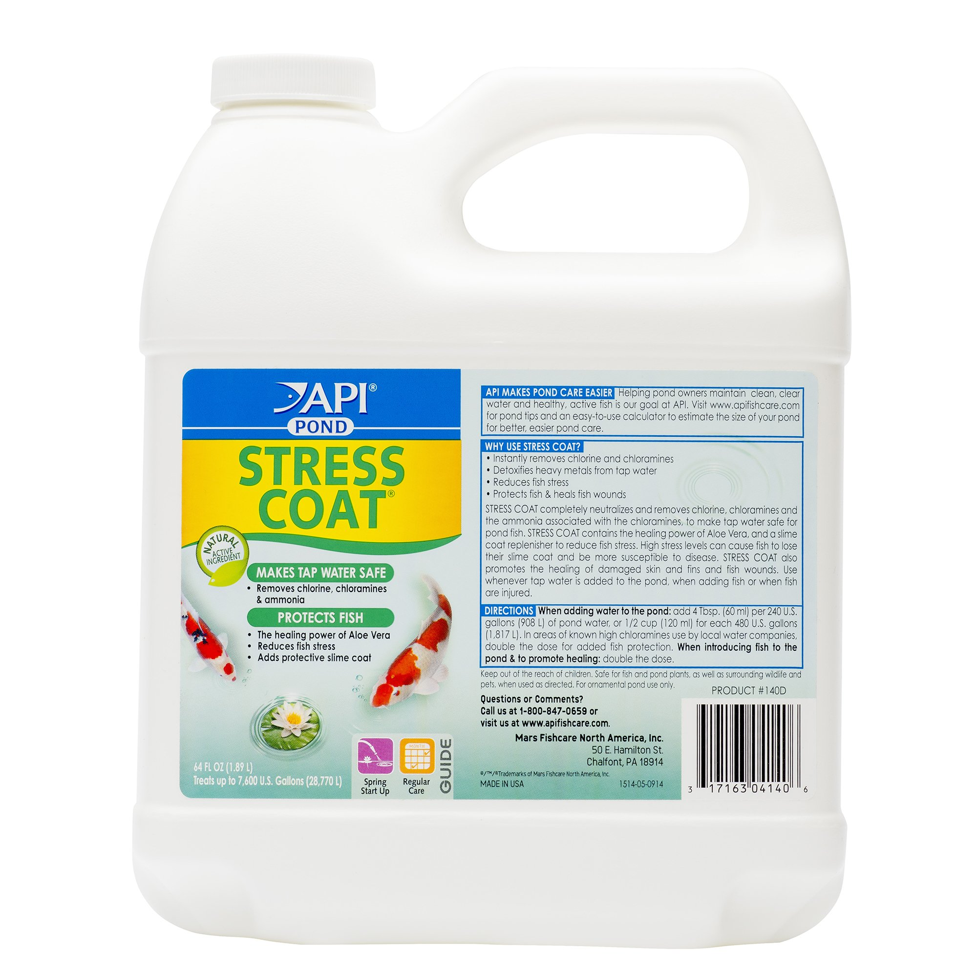 API POND STRESS COAT Pond Water Conditioner 64-Ounce Bottle by MARS FISHCARE POND