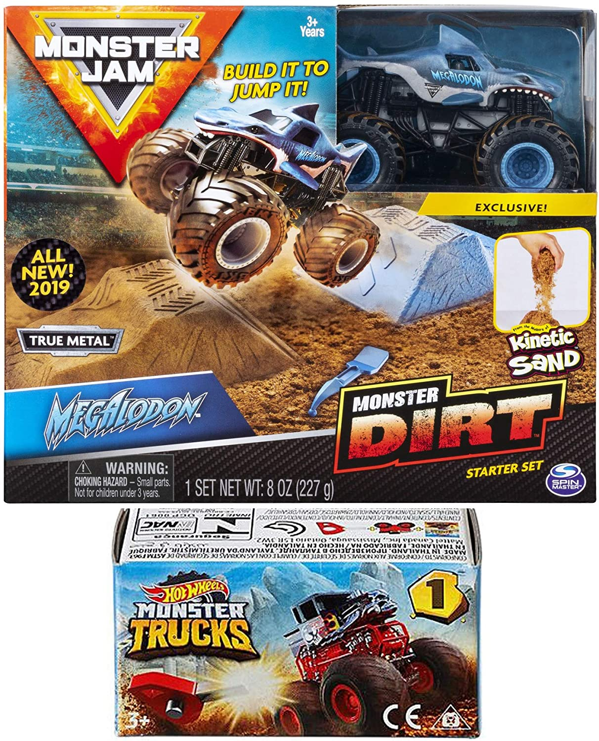 Dirt Crew Monster Jam Kit Action 2019 Megalodon Shark Truck and Sand + Hot Wheels Blind Box Series Mini Monster Truck with Launcher
