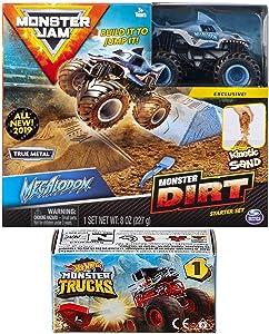 Dirt Crew Monster Jam Kit Action 2019 Megalodon Shark Truck and Sand + Hot Wheels Blind Box Series Mini Monster Truck with Launcher
