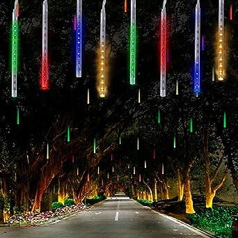 360LED Tubo de Luces Solar Luces Jardín,KINGCOO Impermeable Guirnalda de Luzs Meteoros Manguera de Luces Decorativas Cadena con 30cm 10 Tubos para Vacaciones Fiesta Navidad Árbol Navidad(Vistoso): Amazon.es: Iluminación