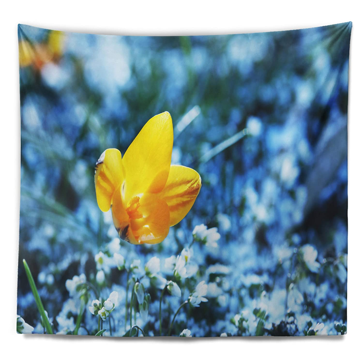 Designart TAP12625-39-32  Solitary Yellow Flower on Blue Floral Blanket D/écor Art for Home and Office Wall Tapestry Medium x 32 in Created On Lightweight Polyester Fabric 39 in