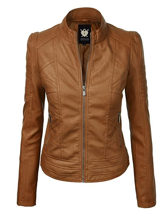 Lock and Love WJC746 Womens Vegan Leather Motorcycle Jacket XS Camel