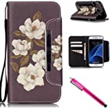 Galaxy S7 Case, Firefish Kickstand Flip [Card Slots] Wallet Cover Double Layer Bumper Shell with Magnetic Closure Strap Case for Samsung Galaxy S7-Begonia
