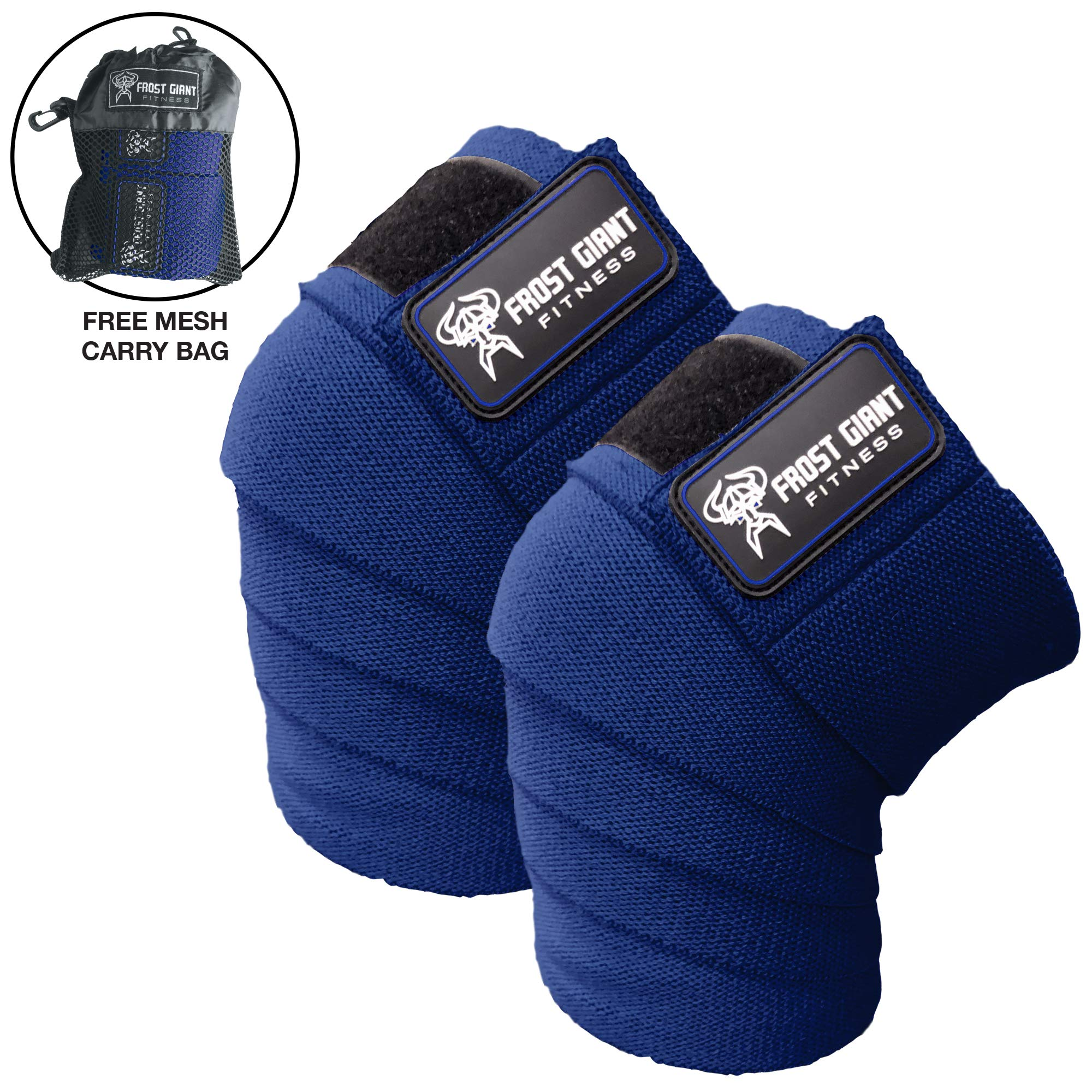 Frost Giant Fitness: 80'' Knee Wraps Set for Weightlifting, Bodybuilding, Lifting and Gym Workouts - Heavy Duty Exercising Knee Compression & Elastic Support for Men & Women. (Blue)