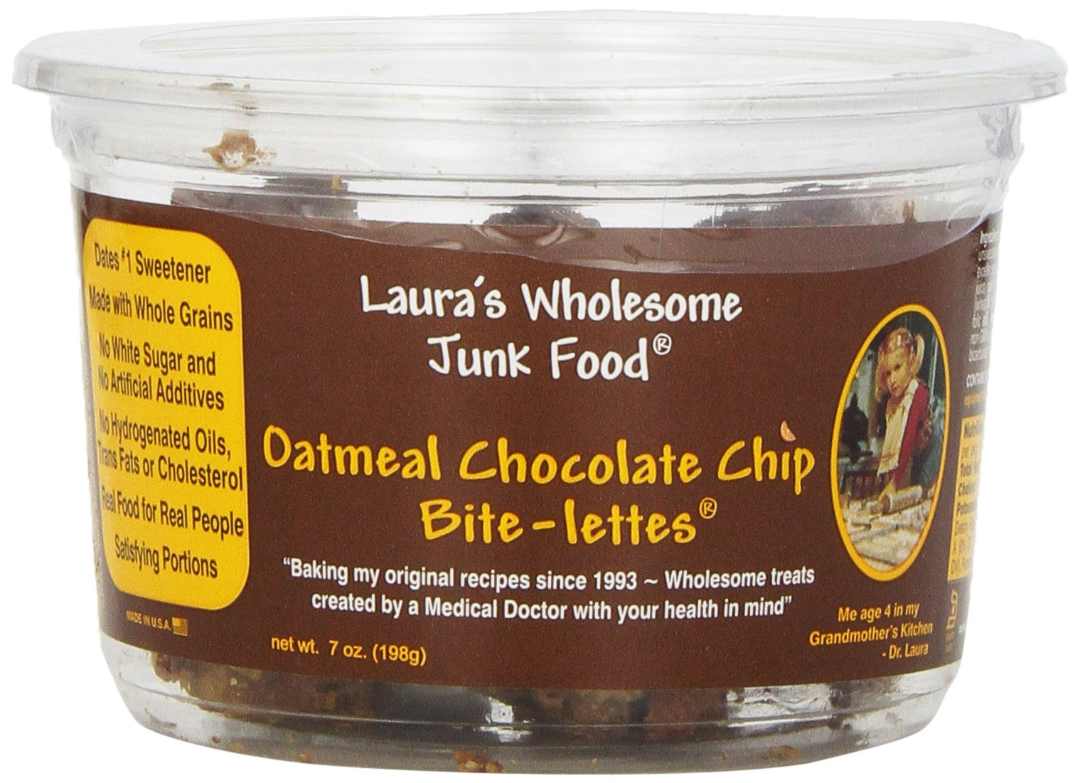 Laura's Wholesome Junk Food Cookie, Oatmeal Choc Chip, 7 Ounce