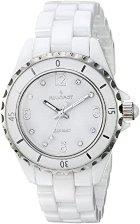 cbd0aa1d5 Amazon.com: Peugeot Women's Quartz Watch with Ceramic Strap, White, 16  (Model: 7100WT: Watches