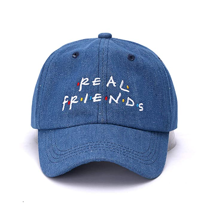 1fa7251a268 Denim Real Friends Snapback Cap Cotton Baseball Cap for Men Women  Adjustable Hip Hop Dad Hat Bone Garros at Amazon Women s Clothing store
