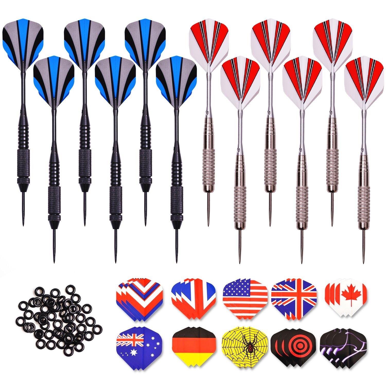 Darts Steel 24 Grams 12 Pcs Darts + 30 PET Flights + 50 Dart Rubber Rings  Aluminium Shafts: Amazon.co.uk: Sports & Outdoors