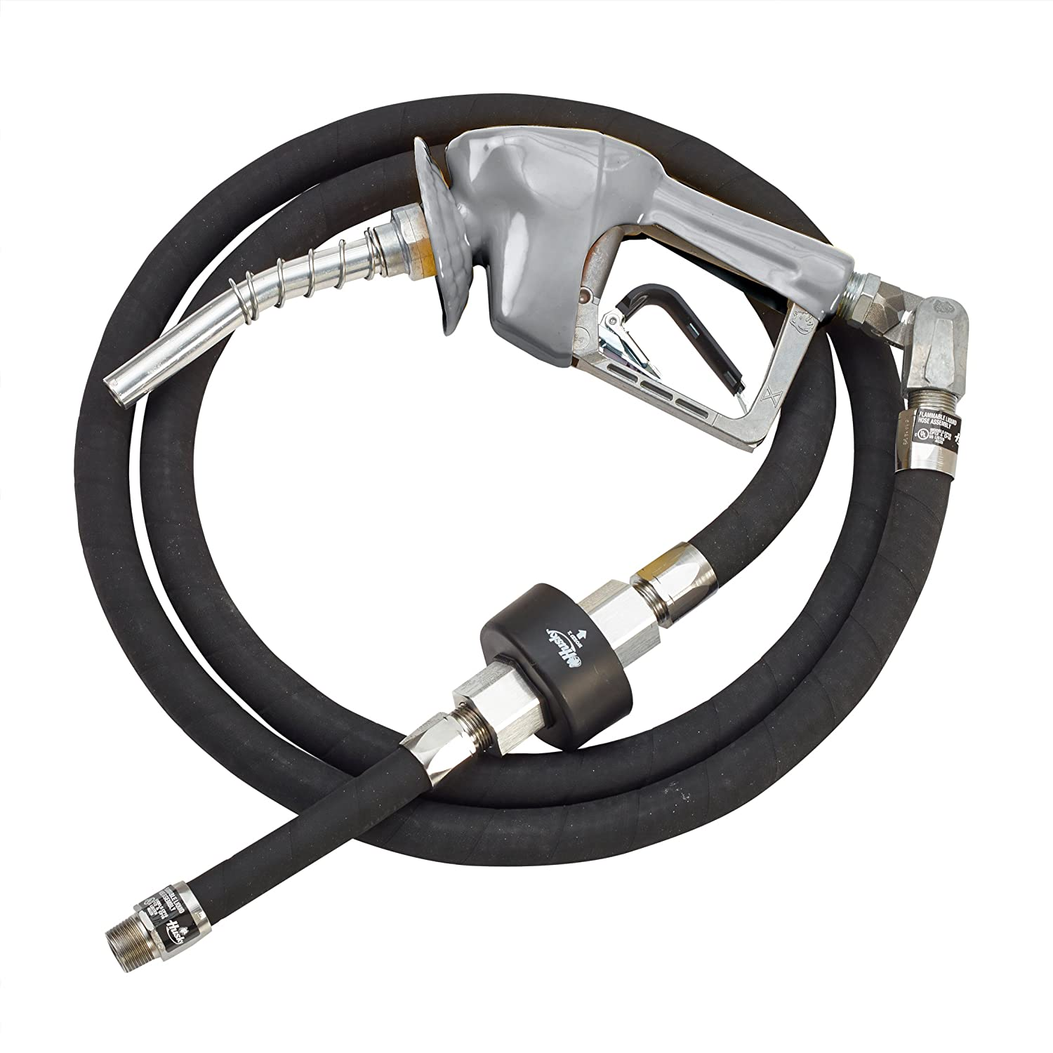 Husky 010628-09 XS Pressure Activated Unleaded Nozzle with Waffle Splash Guard and 5//8-Inch by 9-Inch Wirebraid Whip Hose