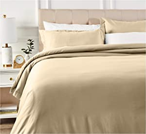 AmazonBasics 400 Thread Count Cotton Duvet Cover Bed Set with Sateen Finish - King, Beige