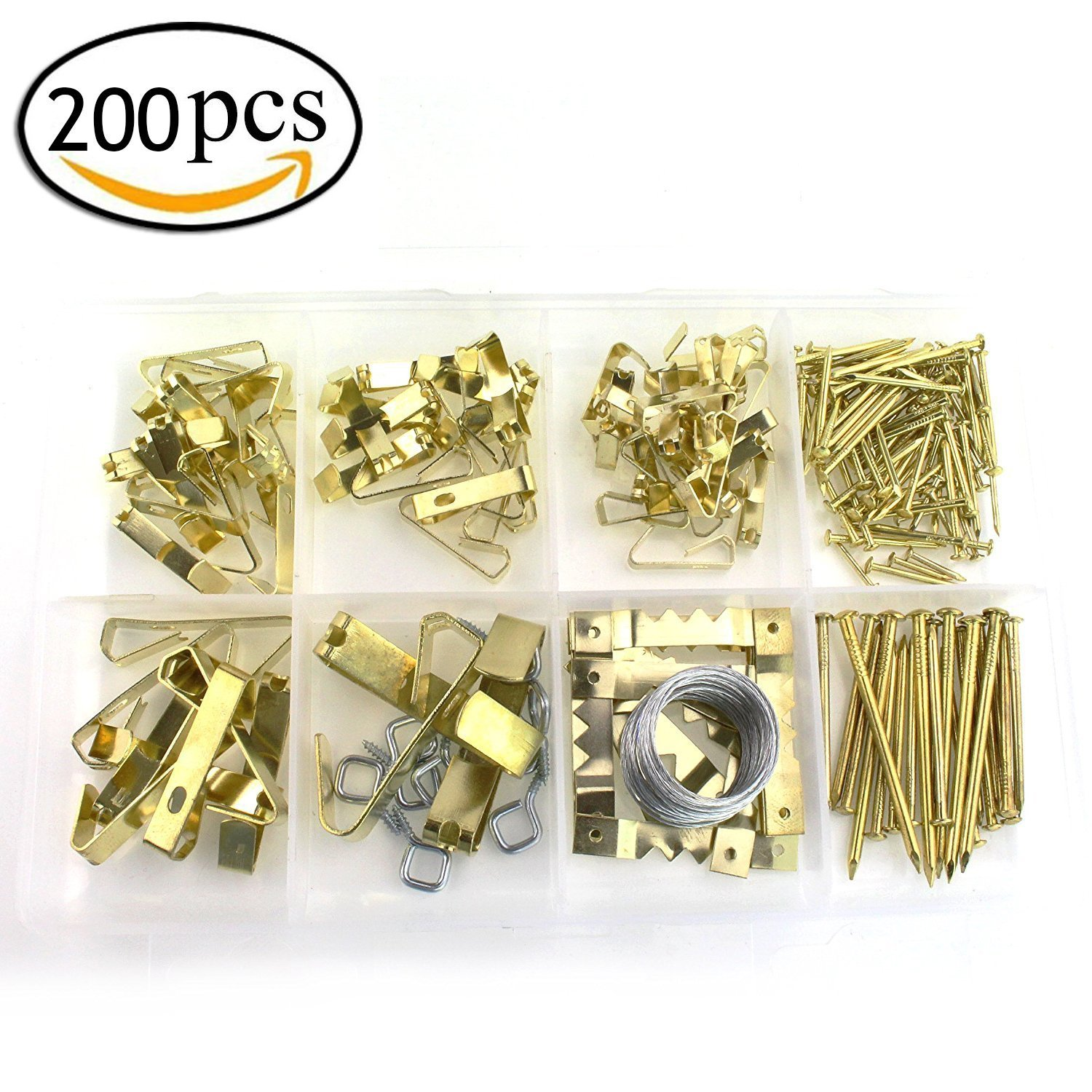 Assorted Picture Hanging Kit Heavy Duty Assortment with Wire, Picture DIY Hangers, Hooks, Nails and Hardware for Frames (200 PCS)