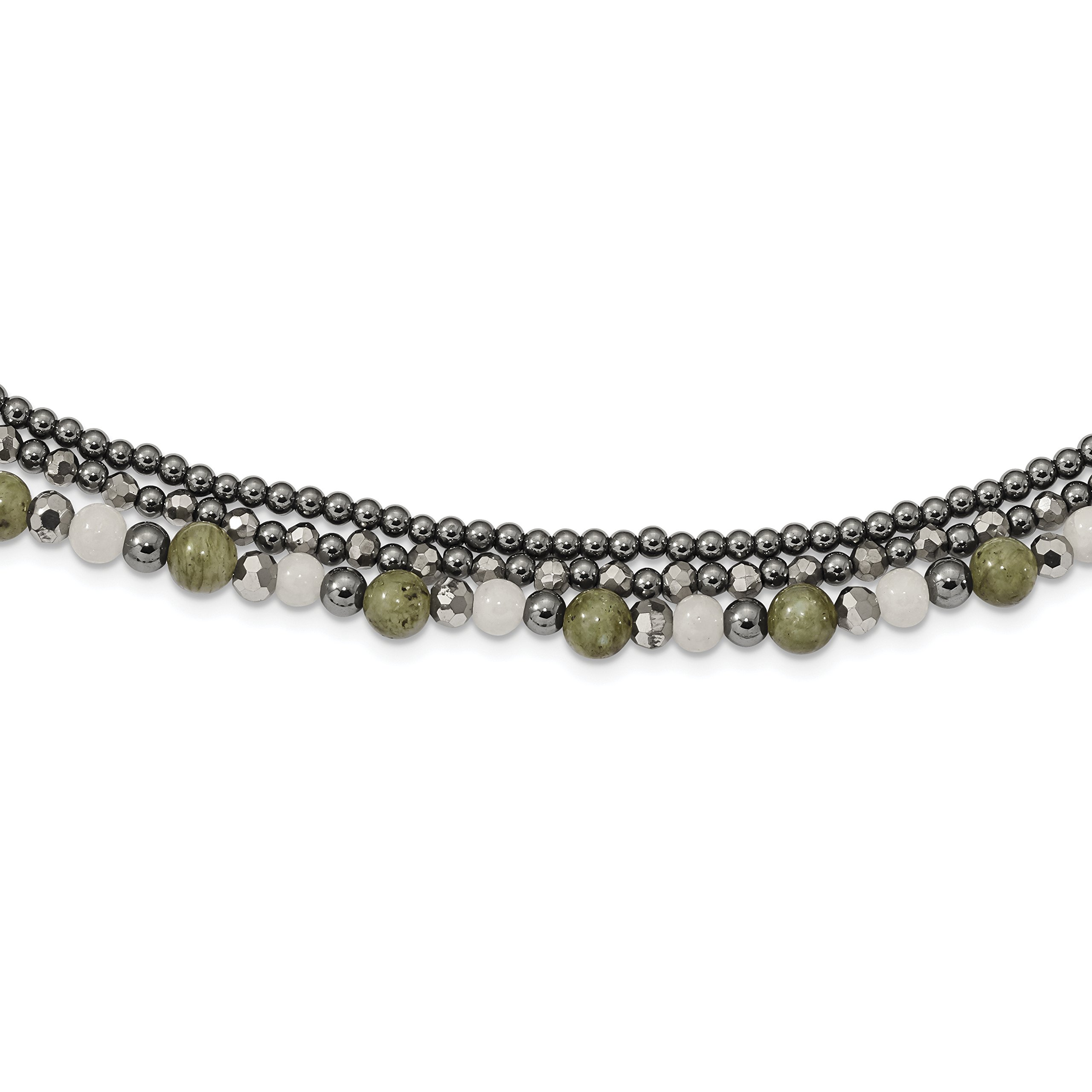 ICE CARATS 925 Sterling Silver Crystal/hematite/white Jade/labradorite 3 Strand 2 Inch Extension Chain Necklace Natural Stone Fine Jewelry Gift Set For Women Heart