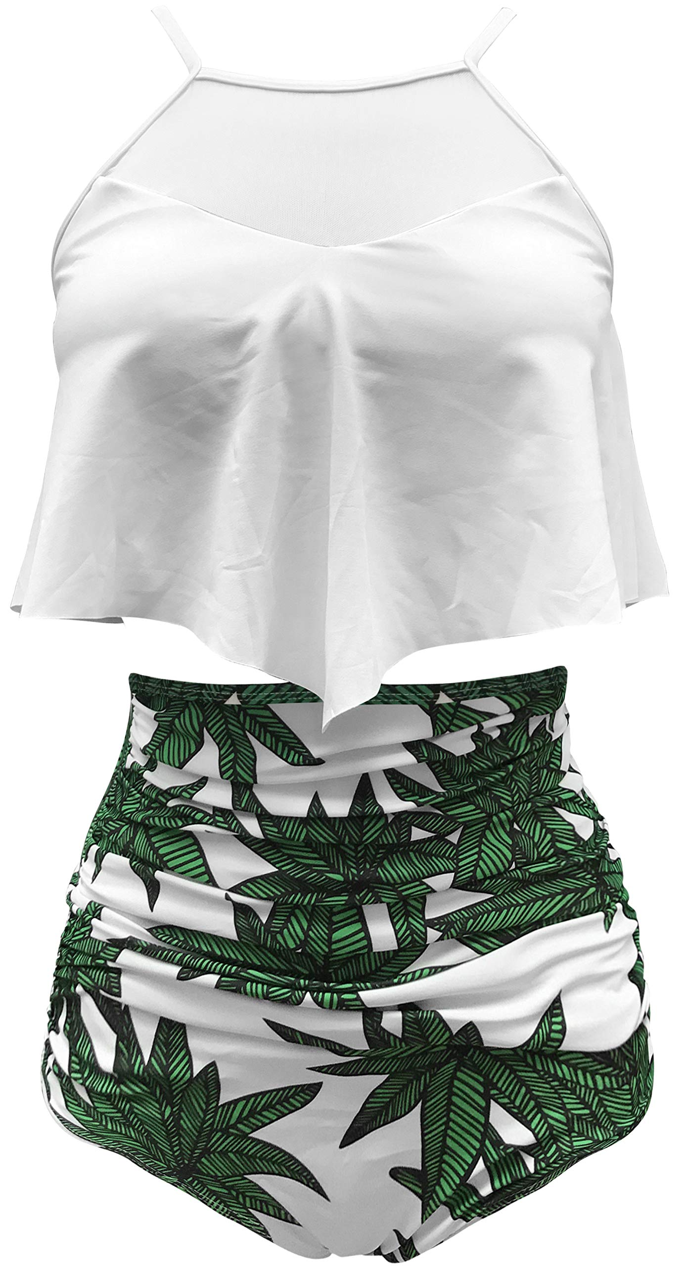 Gabrielle-Aug Women's Sexy Bikini Top & High Waist Shorts Falbala Soild Floral Flounce Bikini Set Swimwear(FBA) (16, White&Floral)